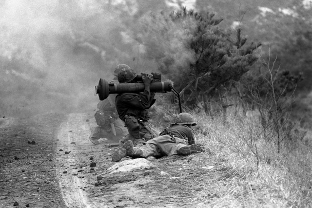 Soldiers from the 2nd Brigade, 25th Infantry Division fire a Tube-Launched, Optically-Tracked, Wire-Guided Anti-Tank Missile (TOW) during TEAM SPIRIT '82