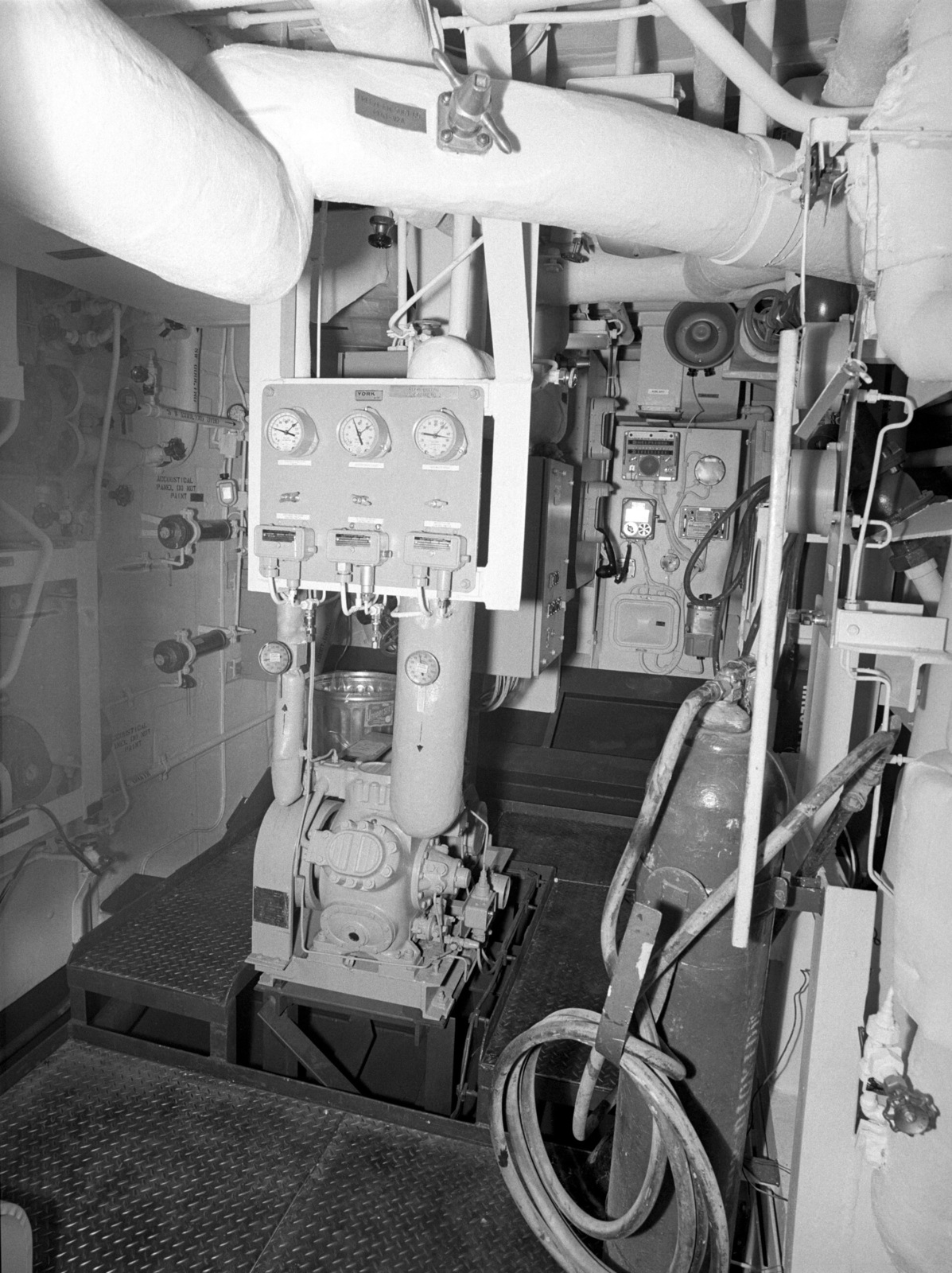 Auxiliary machinery room No. 1 aboard the Oliver Hazard Perry class guided missile frigate USS JOHN L. HALL (FFG 32) at 90 percent completion