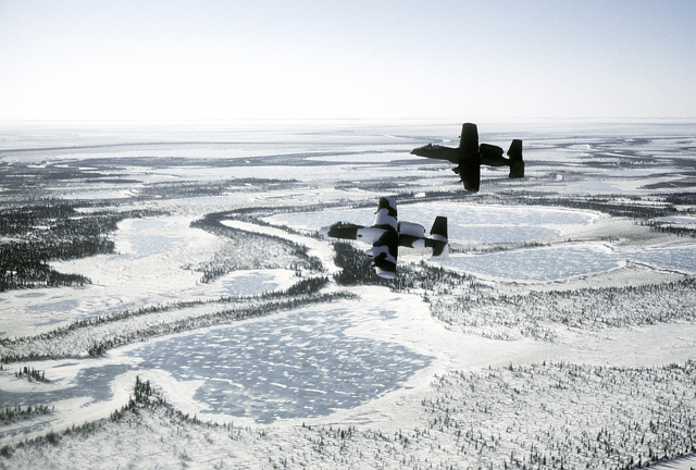 Left side view of two A-10 Thunderbolt II aircraft, one with camouflage paint scheme, in flight over frozen terrain during exercise Cool Snow Hog '82-1