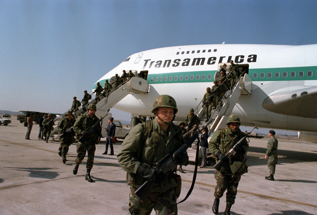 Members of the 1ST Battalion, 35th Infantry, arrive to participate in the joint Republic of Korea/U.S. training exercise Team Spirit '82