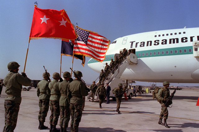 Members of the 1ST Battallion, 35th Infantry, 25th Infantry Division, arrive to participate in the joint South Korean/US training Exercise TEAM SPIRIT '82