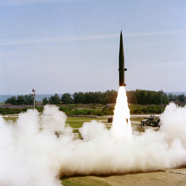 A Pershing Ia (MCM-31A) battlefield support missile lifts off from Complex 16 during a test launch. Three missiles were launched in rapid sequence at 10:01 a.m., 10:17 a.m., and 11:26 a.m. EST