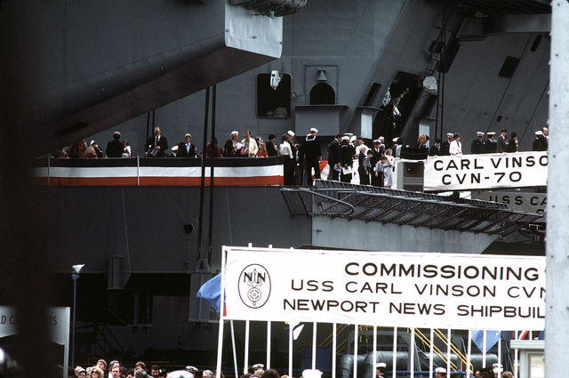 A partial view of the nuclear-powered aircraft carrier USS CARL VINSON (CVN-70) with the crew and their families aboard for a dependents cruise following the commissioning ceremony