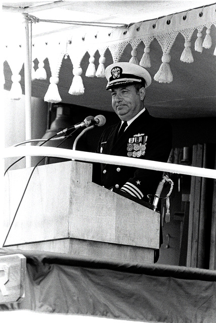 CAPT Sebastian P. Passantino, supervisor of shipbuilding conversion and repair, addresses the honored guests during the commissioning ceremonies for the guided missile destroyer USS CHANDLER (DDG-996)