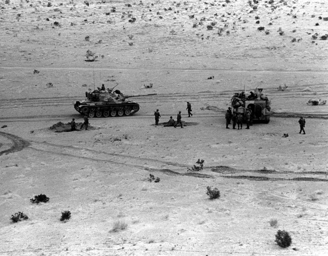 A tank company from the 8th Marine Regiment prepares for a live fire exercise during Operation CAX 4-81