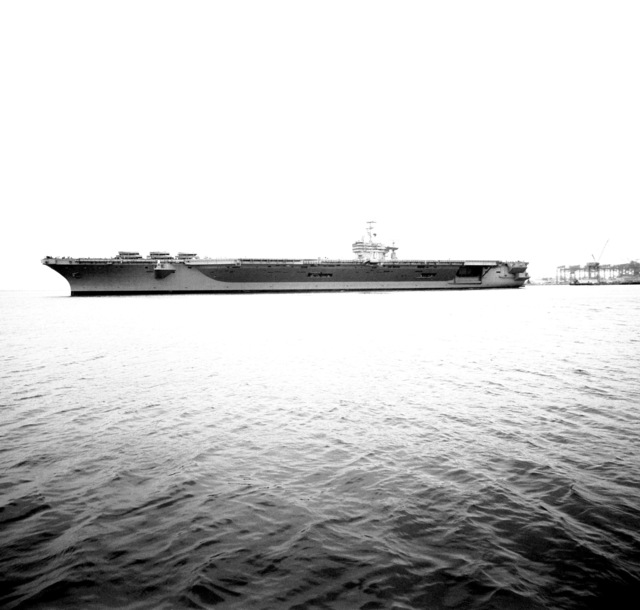 Port beam view of the nuclear-powered aircraft carrier USS CARL VINSON (CVN-70)