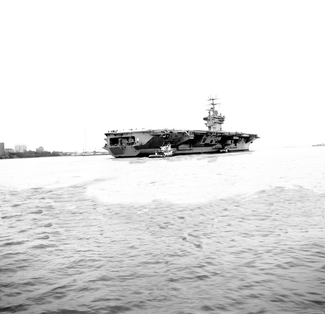 Starboard quarter view of the nuclear-powered aircraft carrier USS CARL VINSON (CVN-70)