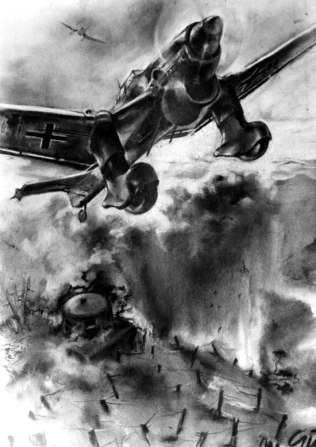 "Artwork: ""Stuka Raid on the Maginot Line""Artist: M.I. Guhl"