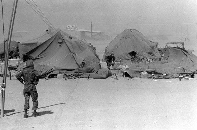 A member of the 3rd Battalion, 8th Marine Regiment, looks at the damage done to his company's tents by a sandstorm during Operation CAX 4-81