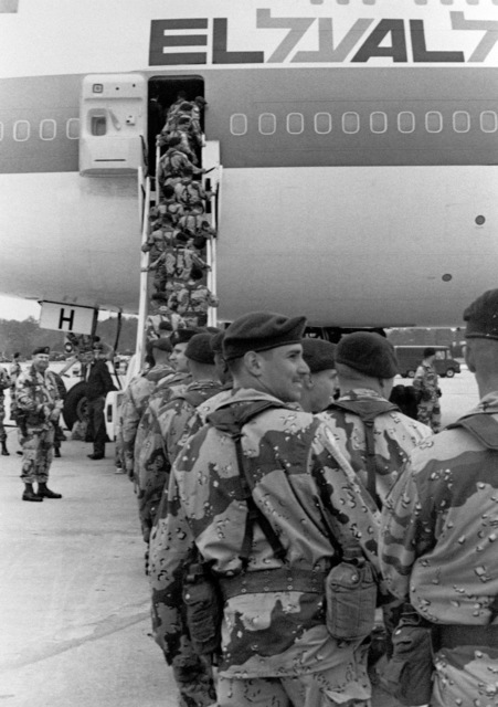 Paratroopers of the 1ST Bn., 505th Inf., 82nd Abn., Div., board an Israeli 747 jet en route to the Sinai for Multinational Force Observer (MFO) duties
