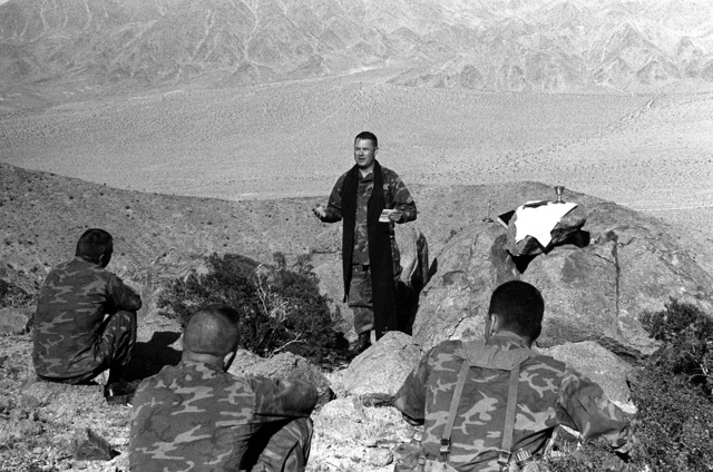 The chaplain of 3rd Battalion, 8th Marine Regiment, conducts Easter Mass in the field during Operation CAX 4-81