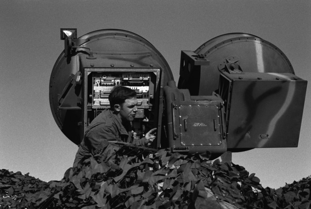 PFC Thomas Caldwell from Fort Lewis, Washington, completes the set up of radar gear for the Hawk missile