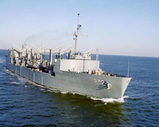 A starboard bow view of the replenishment oiler USS MILWAUKEE (AOR 2) underway