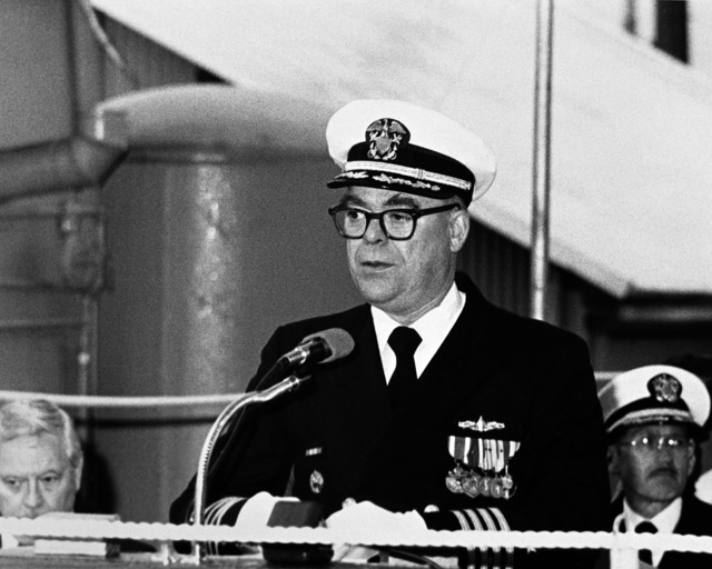 Rear Admiral Thomas M. Ward Jr., representative of Naval Sea Systems Command, speaks during the launching ceremony for the Australian frigate DARWIN (F-04) taking place at Todd Pacific Shipyards Corporation