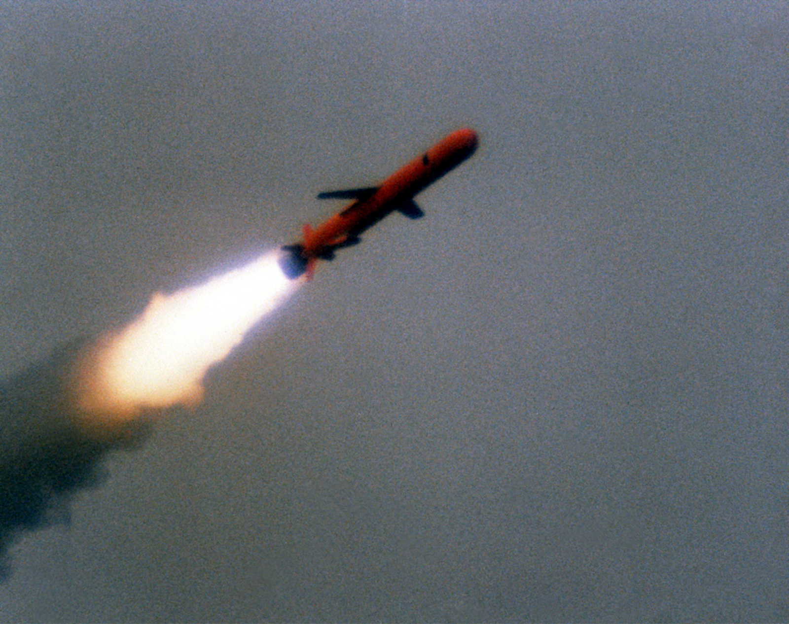 A view of a BGM-109 Tomahawk missile in flight during a land