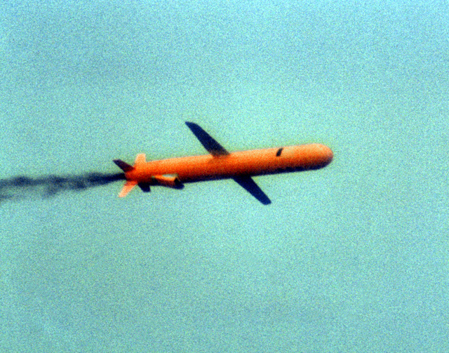 A view of a BGM-109 Tomahawk missile in flight during a land attack conventional missile operation test near the Pacific Missile Test Center, Point Mugu, California