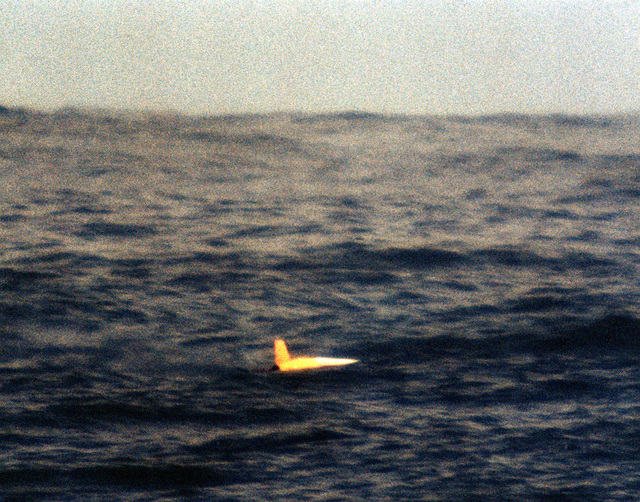 A view of a BGM-109 Tomahawk missile in the water during a land attack conventional missile operation test near the Pacific Missile Test Center, Point Mugu, California