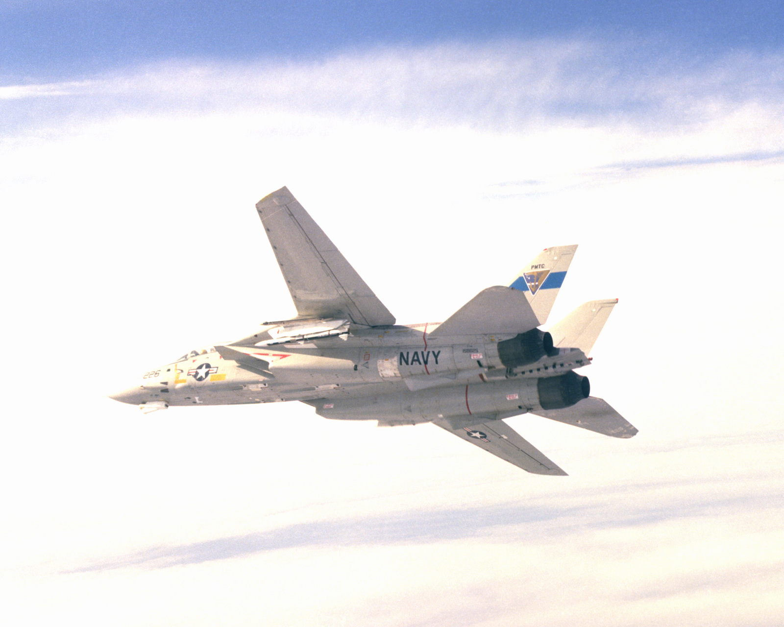 A view of an F-14A Tomcat aircraft with advanced medium