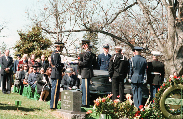 A joint services honor guard participates in the full honors funeral for GEN Nathan Twining, chairman of the Joint Chiefs of STAFF from 1957-1960, at the Arlington National Cemetery
