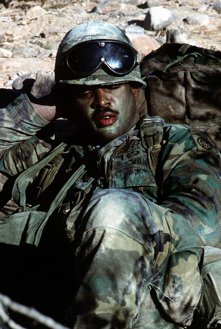 """A member of the 82nd Airborne Division takes a short nap prior to a confrontation with """"enemy forces"""" during Exercise Gallant Eagle '82"""