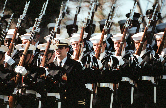 A Navy honor guard takes part in the full honors funeral for GEN Nathan Twining, chairman of the Joint Chiefs of STAFF from 1957-1960, at Arlington National Cemetery