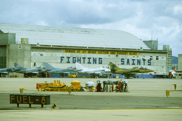 A right side view of several Navy A-4 Skyhawk aircraft on the flight line during Exercise Gallant Eagle '82