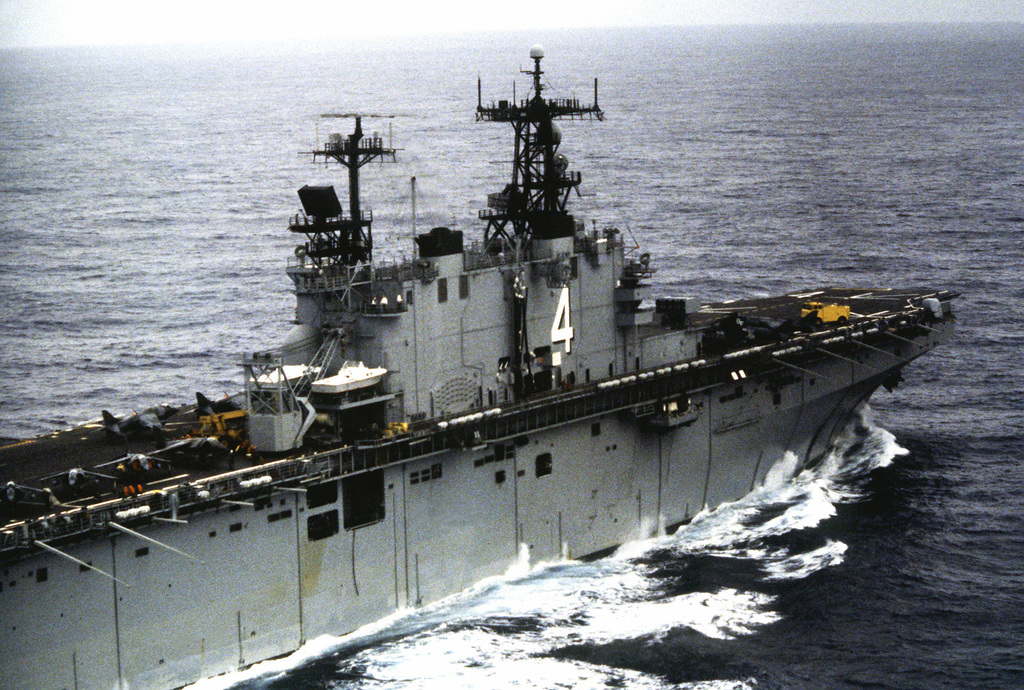 A starboard view of the superstructure of the amphibious assault ship USS NASSAU (LHA-4)