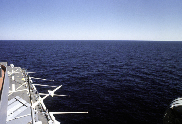 A view of a RIM-7 Sea Sparrow missile immediately after launch from the amphibious assault ship USS NASSAU (LHA-4)