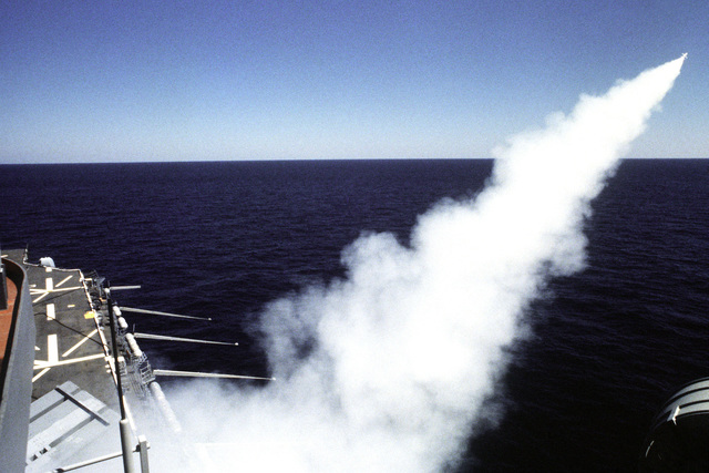 A view of an RIM-7 Sea Sparrow missile being launched from the amphibious assault ship USS NASSAU (LHA-4)