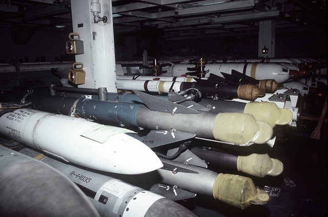 A view of the air launch missile room aboard the aircraft carrier USS JOHN F. KENNEDY (CV-67)