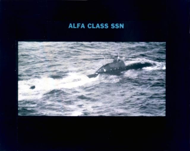 Aerial starboard quarter view of a Soviet Alfa class fleet submarine underway