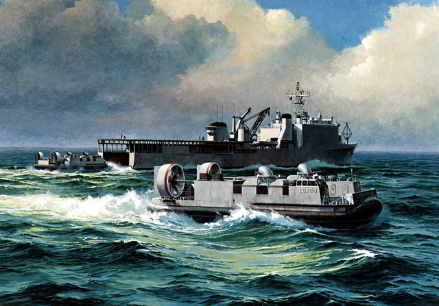 Artist's conception of a Landing Craft Air Cushion (LCAC) operation from the dock landing ship (LSD-41) still under construction