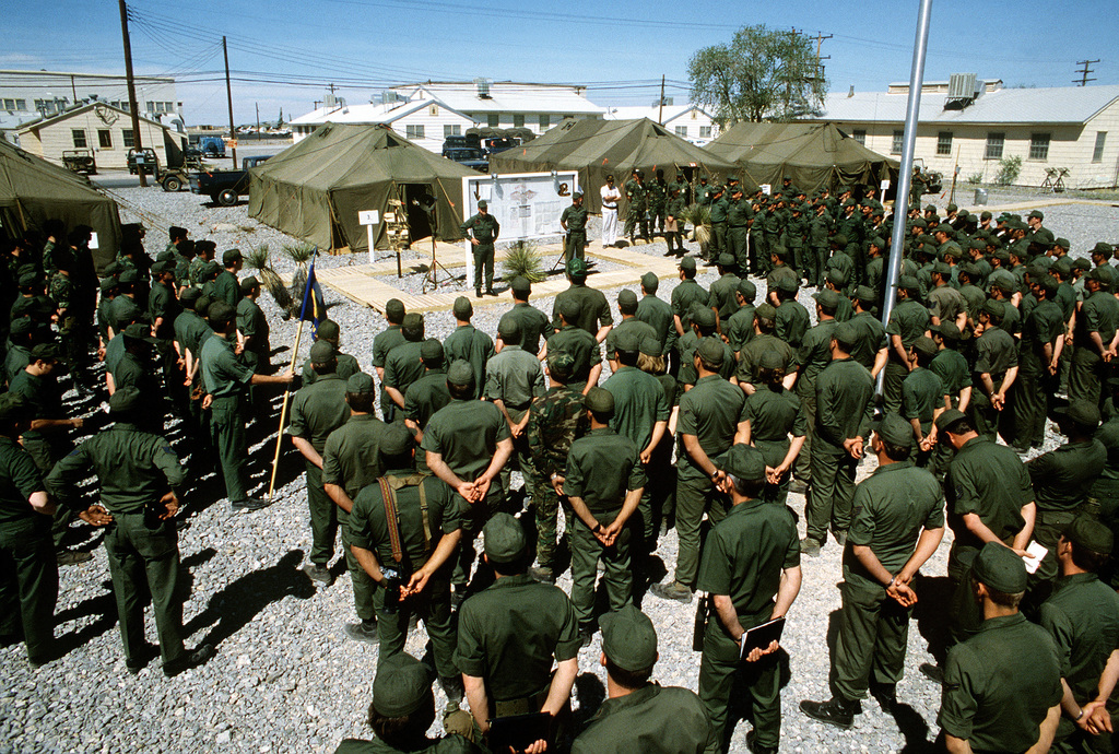 BGEN Leo W. Smith II, commander of the Strategic Project Force, briefs participants of Exercise Gallant Eagle '82