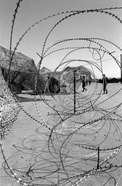 Concertina wire is strung around the Rapid Deployment Joint Task Force compound to keep out unauthorized personnel during Exercise Gallant Eagle '82
