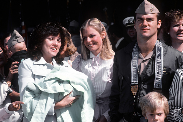Families of Navy pilots from Carrier Air Wing 14 (CVW-14) welcome the men home after a Western Pacific deployment aboard the aircraft carrier USS CORAL SEA (CV-43)
