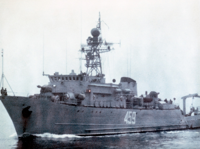 Port bow view of a Soviet Natya class ocean minesweeper underway