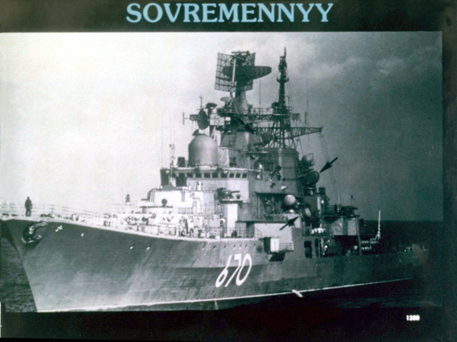 Port bow view of a Soviet Sovremennyy class guided missile destroyer