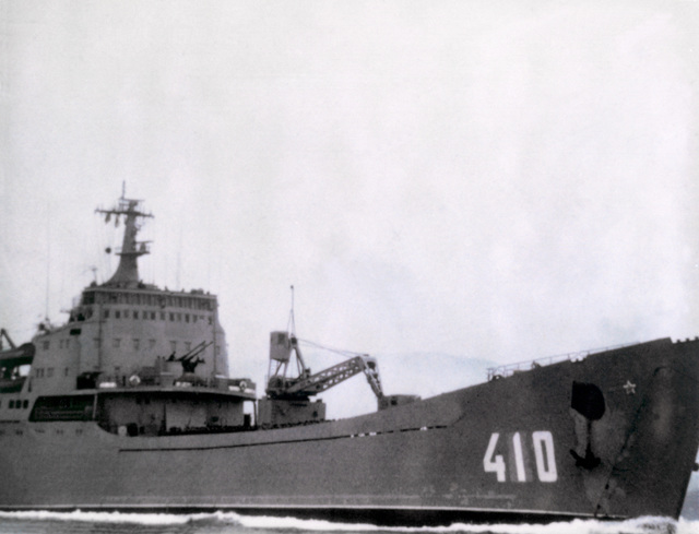 Starboard bow view of a Soviet Alligator class amphibious vehicle landing ship