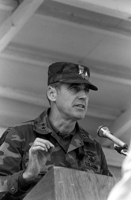 MGEN Alexander M. Weyland, commander, 25th Infantry Div., gives the opening remarks to officially start the annual South Korea/U.S. Friendship Games at the Chun Chon High School stadium. The games are the conclusion to the joint South Korea/U.S. training exercise Team Spirit '82