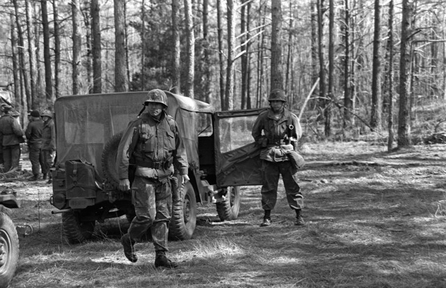 BGEN Joseph E. Hopkins, assistant commanding general, 2nd Marine Division, Fleet Marine Force, arrives to observe his men during the Combined Arms Operation (CAQ 1-82)
