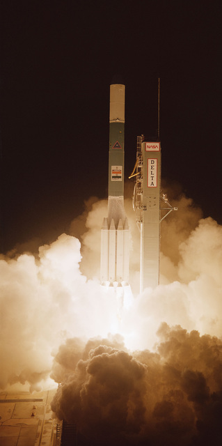 The Delta 161 launch vehicle, carrying the Insat I Spacecraft, lifts off from Complex 17 at 1:47 a.m