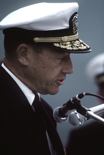 VADM Lee Baggett Jr. speaks at the commissioning ceremony for the destroyer USS CAPE COD (AD-43)