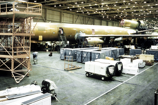 A KC-10 Extender aircraft is being assembled at the Douglas Aircraft Plant