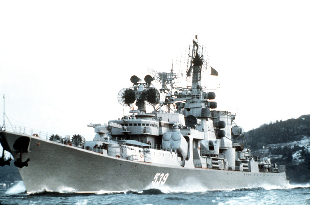 A port bow view of a Soviet Kara class guided missile cruiser underway