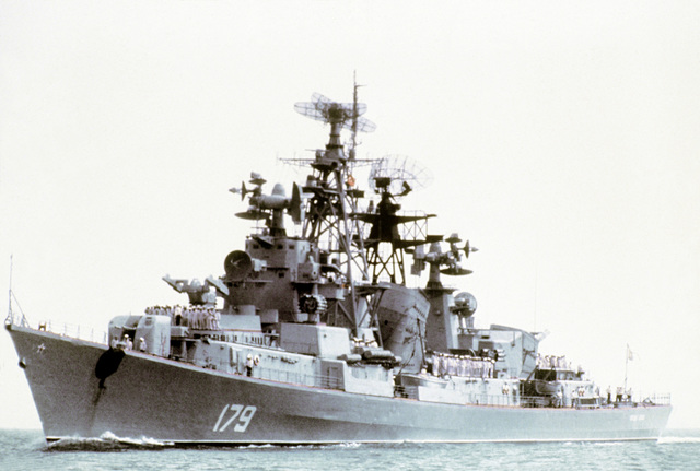 A port bow view of a Soviet Kashin class guided missile destroyer underway