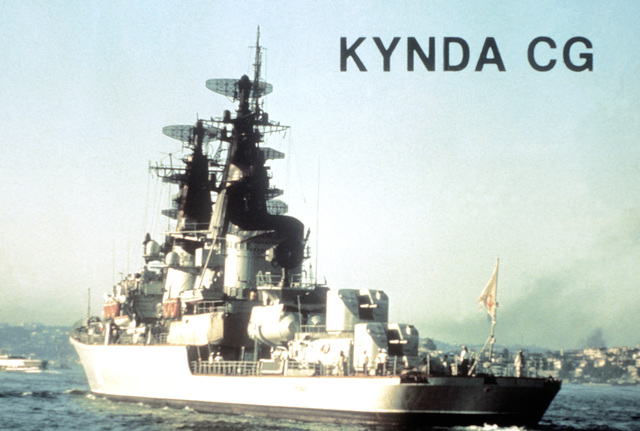 A port quarter view of a Soviet Kynda class guided missile cruiser