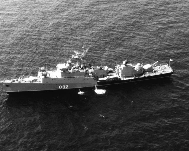 Aerial port beam view of a Soviet Grisha III class anti-submarine frigate