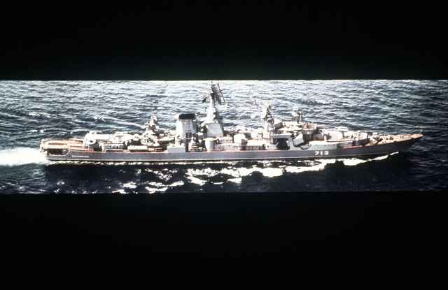 Aerial starboard beam view of a Soviet Kara class guided missile cruiser underway