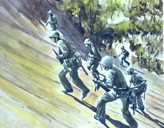 "Artwork: ""Charge of the Seabees, Guam"" Artist: Louis J. Kaep, #30. Courtesy U.S. Navy Combat Art Center"