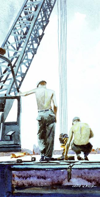 "Artwork: ""MCB-9 Steel Workers, Midway Island"" Artist: Louis J. Kaep, #57. Courtesy U.S. Navy Combat Air Center"